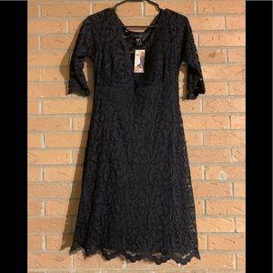 Brand New Black V-Neck Lace Dress